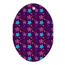 Midnight Stars Pattern Ornament (Oval)