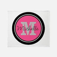 Pink   Black Name Initial Monogram Throw Blanket
