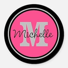 Pink | Black Name Initial Monogra Round Car Magnet