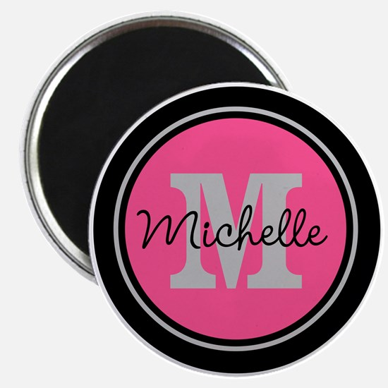 Pink | Black Name Initial Monogram Magnet