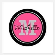 Pink | Black Name Initial M Invitations