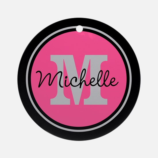 Pink | Black Name Initial Monogra Ornament (Round)