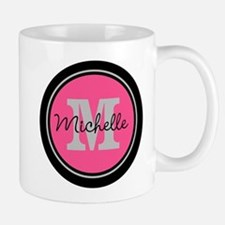 Pink | Black Name Initial Monogram Mug