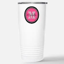 Pink | Black Name Initi Stainless Steel Travel Mug