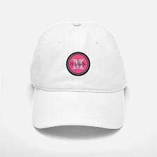 Pink | Black Name Initial Monogram Baseball Baseball Cap