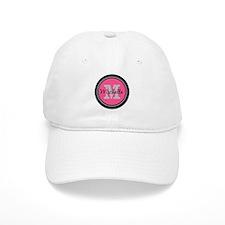 Pink   Black Name Initial Monogram Baseball Cap