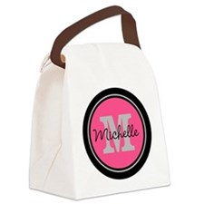 Pink | Black Name Initial Monogra Canvas Lunch Bag