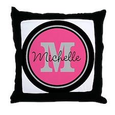 Pink   Black Name Initial Monogram Throw Pillow