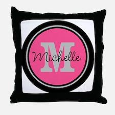 Pink | Black Name Initial Monogram Throw Pillow