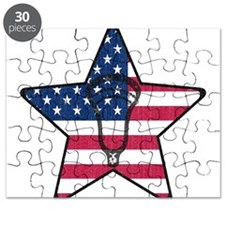 Lacrosse Flag Star Head Weathered Puzzle