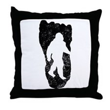 Bigfoot In Footprint Throw Pillow