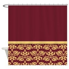 Red Damask Wallpaper Shower Curtain