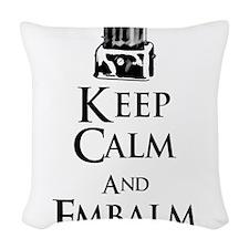 Keep Calm and Embalm Light Woven Throw Pillow