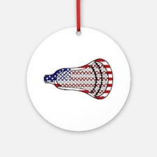 Lacrosse Flag Head 600 Ornament (Round)