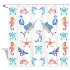 Mermaid Tribal Ocean Fun Shower Curtain