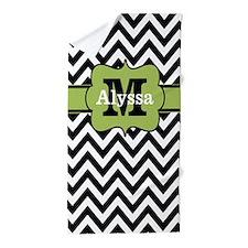 Black Lime Green Chevron Monogram Beach Towel