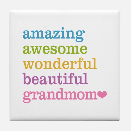 Grandmom - Amazing Awesome Tile Coaster