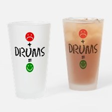 Plus Drums Equals Happy Drinking Glass