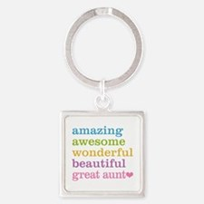 Great Aunt - Amazing Awesome Square Keychain