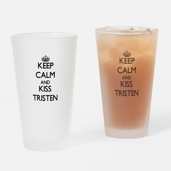 Keep Calm and Kiss Tristen Drinking Glass