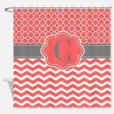 Coral Gray Chevron Quatrefoil Personalized Shower