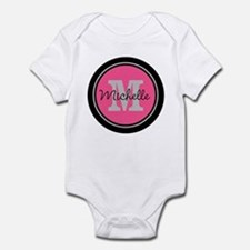Pink | Black Name Initial Monogram Infant Bodysuit