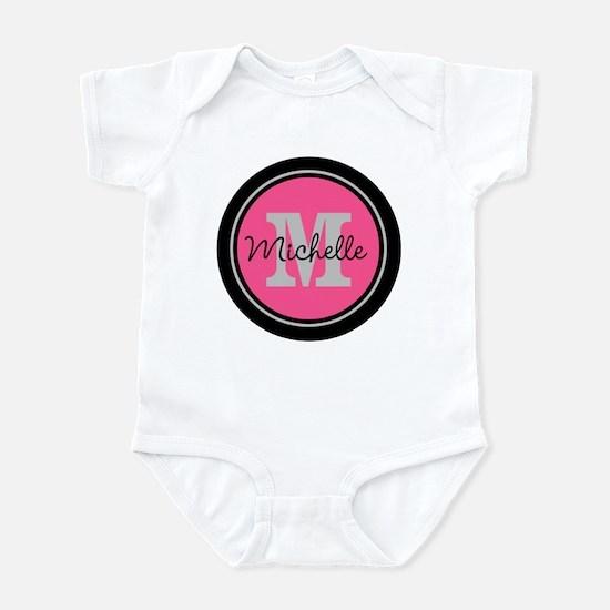 Pink | Black Name Initial Monogram Infant Bodysuit