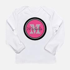 Pink | Black Name Initi Long Sleeve Infant T-Shirt