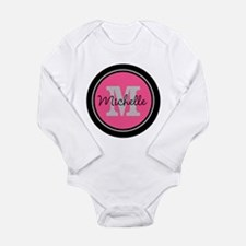 Pink | Black Name Init Long Sleeve Infant Bodysuit