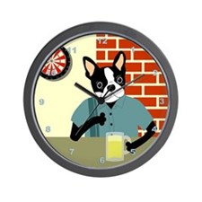 Boston Terrier Dartboard Beer Bar Wall Clock
