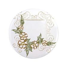 "Floral Golden Frame 3.5"" Button"