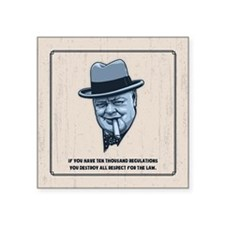 "Churchill -Regulations Square Sticker 3"" x 3"""