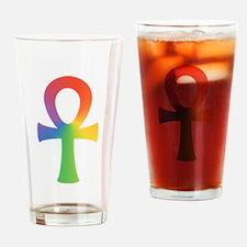 Rainbow Ankh Drinking Glass