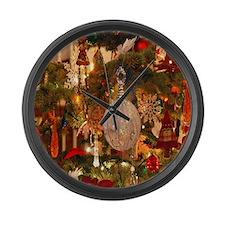 vintage holiday decor Large Wall Clock