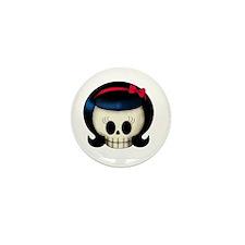 Rockabilly Girl Skull Mini Button (100 pack)