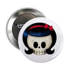 """Rockabilly Girl Skull 2.25"""" Button (10 pack)"""