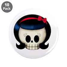 """Rockabilly Girl Skull 3.5"""" Button (10 pack)"""
