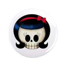 """Rockabilly Girl Skull 3.5"""" Button"""