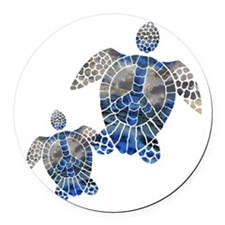 Peace Turtles Round Car Magnet
