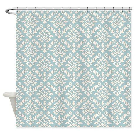 Baroque Damask Ptn Cream On Blue Shower Curtain By PaskellDamaskDesigns
