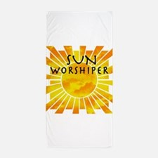 sun worship.png Beach Towel