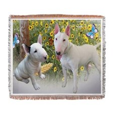 Bull Terrier and Butterflies cards Woven Blanket