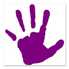 "Purple Handprint Square Car Magnet 3"" x 3"""