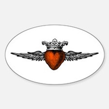 Crown Flying Heart Oval Decal