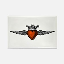 Crown Flying Heart Rectangle Magnet