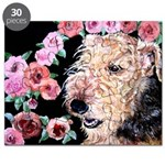 Airedale Dog Terrier Pink Roses Puzzle