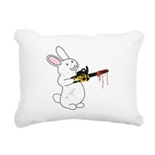 Bunny With Chainsaw Rectangular Canvas Pillow