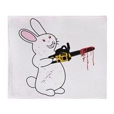 Bunny With Chainsaw Throw Blanket