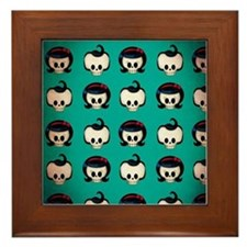 Rockabilly Skulls Pattern Framed Tile