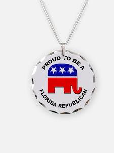 Proud Florida Republican Necklace Circle Charm